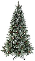 Scandinavian WeRChristmas Blue Spruce Christmas Tree includes Pine Cones and Berries with Easy Build Hinged Branches, Green, 7 feet