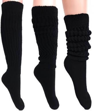 Aws/American Made Women's Extra Long Heavy Slouch Cotton Socks Size 9 to 11 - black -