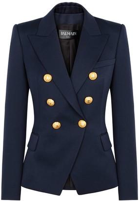 Balmain Navy Double-breasted Wool Blazer