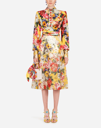 Dolce & Gabbana Floral Print Midi Dress In Crepe De Chine And Brocade