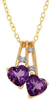 Lord & Taylor Diamonds, Amethyst and 14K Yellow Gold Dual Heart Pendant Necklace