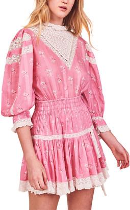 LoveShackFancy Viola Silk-Blend Mini Dress