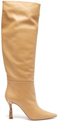Wandler Lina Snake Print-heel Knee-high Leather Boots - Womens - Beige