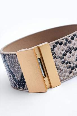 francesca's Amya Snake Leather Wrap Bracelet - Natural
