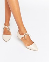 Aldo Chessi Ankle Tie Point Leather Flat Shoes