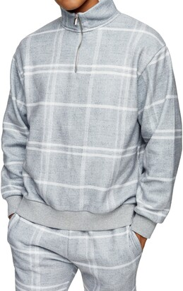 Topman Half Zip Windowpane Check Sweatshirt