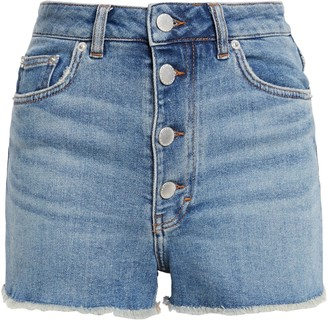 Maje Frayed Button-detailed Stretch-denim Shorts
