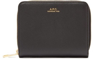 A.P.C. Emmanuelle Zip-around Saffiano Leather Wallet - Black
