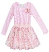 Sara Sara Neon Toddler Girls' Long Sleeve Dress with Floral Skirt - Pink