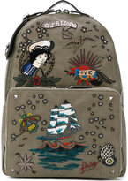 Valentino Garavani Valentino Rockstud tattoo embroidered backpack - men - Cotton/Leather/Brass - One Size