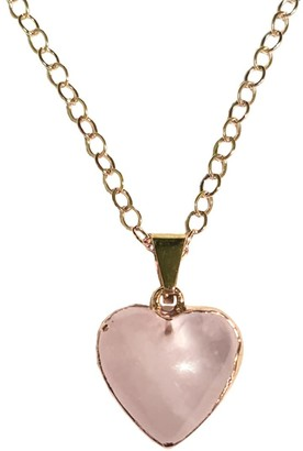 Rose Quartz Gemstone Heart Shaped Necklace Gold