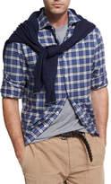 Brunello Cucinelli Madras Plaid Flannel Cotton Shirt, Gray/Blue