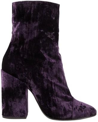 Dries Van Noten Purple Velvet Ankle boots