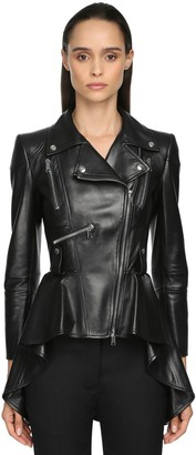 Alexander McQueen Lamb Leather Jacket W/Peplum Tail
