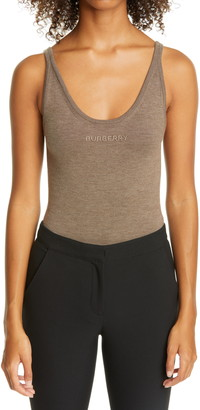 Burberry Logo Embroidered Cashmere Blend Bodysuit