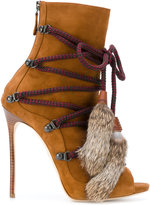 DSQUARED2 ankle boots with fur tassels - women - Goat Skin/Leather - 37