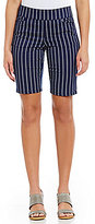 Intro Petites Sheri Pintuck Pull-On Stripe Bermuda Shorts