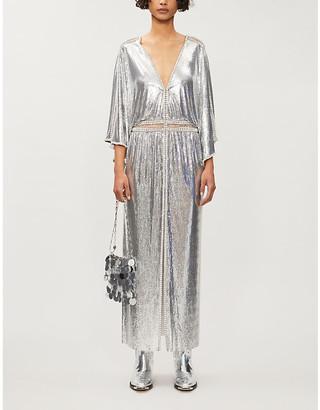 Paco Rabanne V-neck bead-embellish chainmail maxi dress