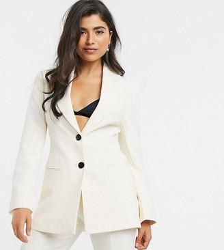 ASOS DESIGN Petite pop suit blazer in ivory