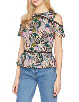 Trussardi Jeans Women's Blouse Slim Fit Sable' Viscose Desert Flower Print B701-Fant Beige B701 16 (XL)