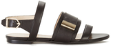 HUGO Women's Plenn Triple Strap Leather Sandals Black