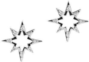Anzie Aztec Hollow Starburst Studs Silver
