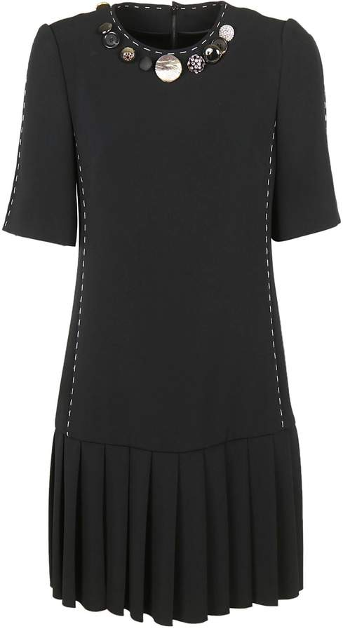 Dolce & Gabbana Button Detail Pleated Dress