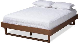 Baxton Studio Tristin Mid-Century Modern Walnut Brown Wood Queen Platform Bed Frame