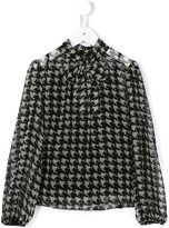 Dolce & Gabbana houndstooth check blouse - kids - Silk/Polyester - 4 yrs