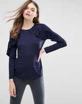 Asos Top With Ruffle Long Sleeves