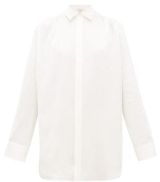 Bottega Veneta Gathered-shoulder Silk-satin Shirt - White