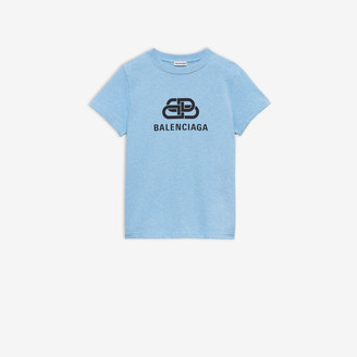 Balenciaga BB Fitted T-shirt in light blue vintage jersey