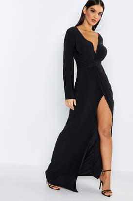 boohoo Flared Sleeve Twist Front Slinky Maxi Dress