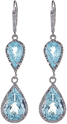Forever Creations Usa Inc. Forever Creations Silver 19.20 Ct. Tw. Diamond & Aquamarine Earrings