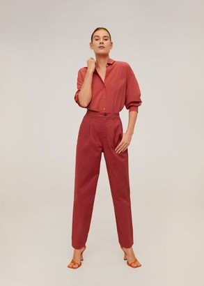MANGO Relaxed fit cropped trousers ecru - 2 - Women