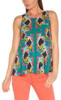 American Retro Women's CLAUDIA TOP Graphic Round Collar Sleeveless Shirt - -