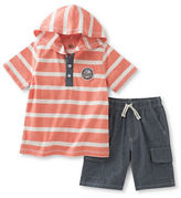 Kids Headquarters Baby Boys Two-Piece Striped Hooded Tee and Shorts Set