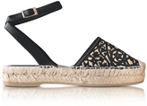 Oscar de la Renta Tina Black & Beige Lasercut Leather and Raffia Espadrilles