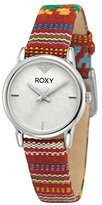 Roxy Women's RX/1018WTRD THE HUNTINGTON Stainless Steel Watch With Red Multi-Colored Fabric Strap