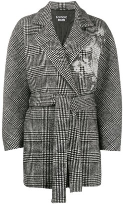 Boutique Moschino Check Waist-Tied Coat