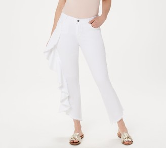 Peace Love World White Wash Side Ruffle Ankle Jeans