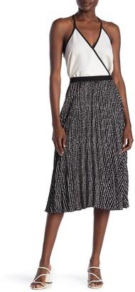 Max Studio Pleated Patterned Midi Skirt