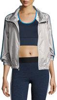 Heroine Sport Racing Wind-Resistant Athletic Jacket, Silver