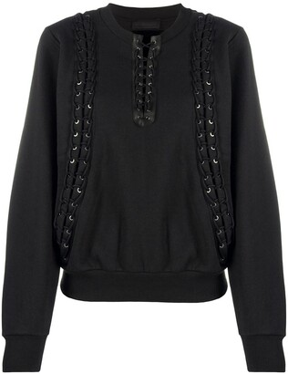 Diesel Black Gold Lace-Up Rib-Trimmed Sweatshirt