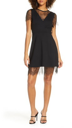 French Connection Madalyn Lula Lace Trim Cocktail Dress