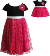 Dollie & Me Black & Fuchsia Sparkle Chevron Dress & Doll Dress - Girls