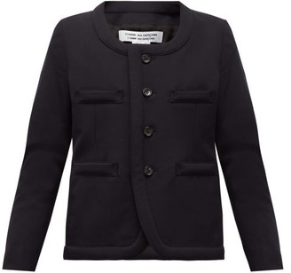 Comme des Garcons Scoop-neck Single-breasted Wool Blazer - Womens - Navy