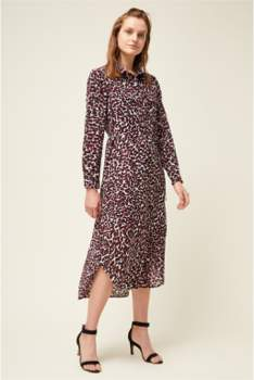 Great Plains Cara Leopard Print Shirt Dress in Burgundy - 8 | burgundy - Burgundy