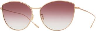 Oliver Peoples Rayette Vintage-Inspired Metal Cat-Eye Sunglasses, Rose Gold