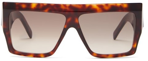 Celine Rectangle Acetate Sunglasses - Womens - Tortoiseshell